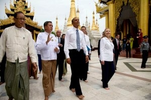 U.S. President Barack Obama tours the Shwedagon Pagoda with Secretary of State Hillary Rodham Clinton in Yangon, Myanmar, Monday, Nov. 19, 2012. This is the first visit to Myanmar by a sitting U.S. president. (AP Photo/Carolyn Kaster)
