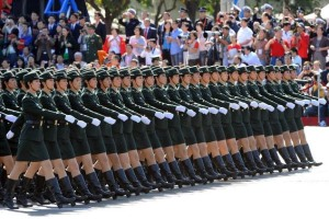 Chinese People's Liberation Army (PLA) female soldiers march during the National Day parade in Beijing, on 1 October 2009.