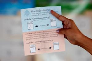 An election commission official displays a ballot paper to the media while counting votes during a constitutional referendum vote at a polling station in Bangkok, Thailand, August 7, 2016. REUTERS/Chaiwat Subprasom